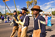 "16 JANUARY 2012 - MESA, AZ: High school students dressed ""Buffalo Soldiers"" in the parade on Martin Luther King Day in Mesa, AZ, Monday, Jan. 16. Hundreds of people participated in the parade which marched through downtown Mesa. The Buffalo Soldiers were African-American troopers in the US Army that fought the Indians in the old west.  PHOTO BY JACK KURTZ"