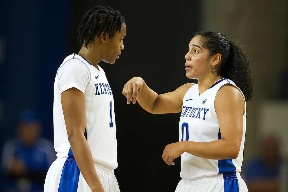 UK guard Jennifer O'Neill, right, talks with guard A'dia Mathies during a break in the action in the second half. The University of Kentucky Women's Basketball Team hosted Texas A&M, Thursday, Jan. 10, 2013 at Memorial Coliseum in Lexington. Photo by Jonathan Palmer