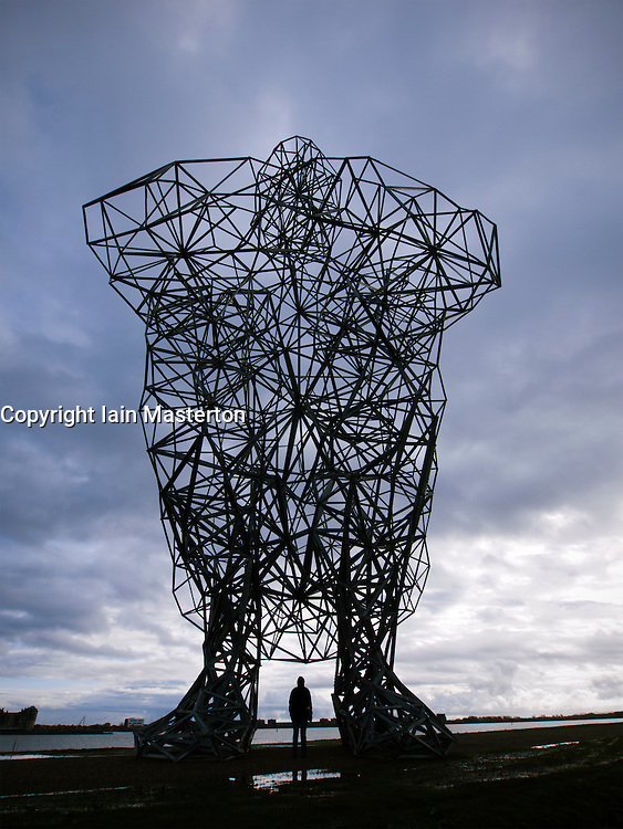 Antony Gormley's new sculpture called Exposure on sea dyke at Lelystad in The Netherlands