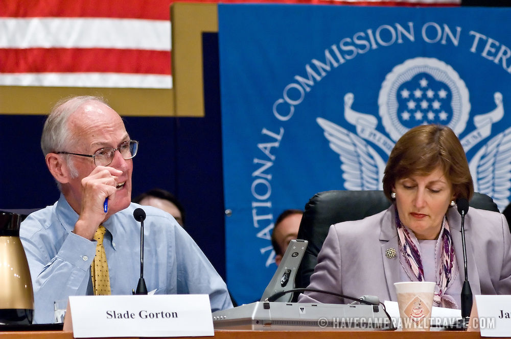 "Slade Gorton (left) and Jamie Gorelick. Panel: Military Response on 9/11. The 9/11 Commission's 12th public hearing on ""The 9/11 Plot"" and ""National Crisis Management"" was held June 16-17, 2004, in Washington, DC."