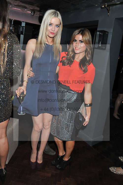 Left to right, LAURA WHITMORE and ZOE HARDMAN at the launch party for Barberella, 428 Fulham Road, London SW6 on 17th October 2012.