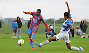 Aaron Bissaka with a late chance during the U21 Professional Development League match between U21 QPR and U21 Crystal Palace at the Loftus Road Stadium, London, England on 31 August 2015. Photo by Michael Hulf.