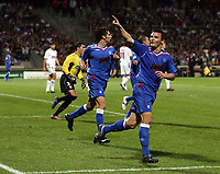 Photo: Paul Thomas.<br /> Lyon v Rangers. UEFA Champions League, Group E. 02/10/2007.<br /> <br /> Lee McCulloch (R) of Rangers celebrates his goal.