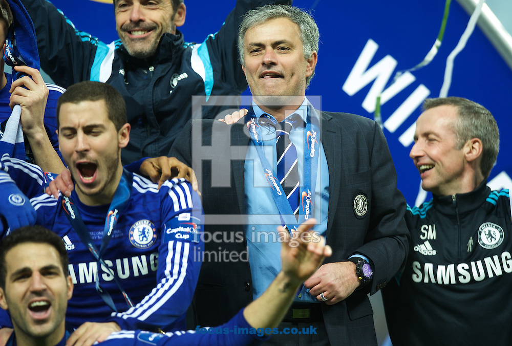 Manager Jose Mourinho of Chelsea celebrates with his team after winning the Capital One Cup match at Wembley Stadium, London<br /> Picture by Alan Stanford/Focus Images Ltd +44 7915 056117<br /> 01/03/2015