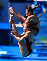Malaysia's Mun Yee Leong and Nur Dhabitah Sabri in action during the Women's Synchronised 3m Springboard Final at the Optus Aquatic Centre during day seven of the 2018 Commonwealth Games in the Gold Coast, Australia.