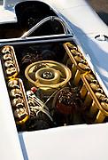Image of a 16 cylinder Prototype motor and engine, Porsche 917 Spyder at the Rennsport Reunion III at Daytona International Speedway, Daytona, Florida, American Southeast