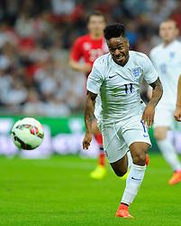 England's Raheem Sterling (Liverpool) chases the lose ball - Photo mandatory by-line: Joe Meredith/JMP - Mobile: 07966 386802 - 3/09/14 - SPORT - FOOTBALL - London - Wembley Stadium - England v Norway - International Friendly