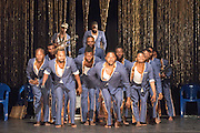 © Tony Nandi. 04/06/2015. Coup Fatal features Congolese counter-tenor Serge Kakudji, with an orchestra of 12 musicians from Kinshasa integrating Baroque phrases with traditional and popular Congolese music, rock and jazz. Sadler's Wells Theatre, London. Photo credit: Tony Nandi
