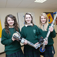 Young Scientist Students Alice Brogan, Caoihme Hoey & Claire Purcell students from Colaiste Mhuire Ennis Co, Clare pictured with their Solar Powered Scooter. <br /> Picture Credit: Brian Gavin Press 22