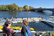 Cambridge. MA. USA. General view from the Cambridge Boathouse balcony over the Charles River and the Eliot Bridge, during the 49th edition of the Head of the Charles. went on to win their event.<br /> <br /> 12:43:54  Sunday  20/10/2013   <br /> <br /> [Mandatory Credit. Peter SPURRIER /Intersport Images]