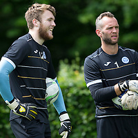 St Johnstone FC Training...<br /> Goalkeepers Zander Clark (left) and Alan Mannus<br /> Picture by Graeme Hart.<br /> Copyright Perthshire Picture Agency<br /> Tel: 01738 623350  Mobile: 07990 594431
