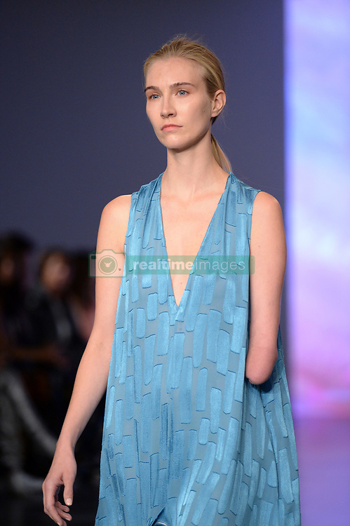 Model Kelly Knox on the catwalk during the Teatum Jones London Fashion Week SS18 show held at the BFC Show Space, London. Picture date: day month, 2017. Photo credit should read: Doug Peters/EMPICS Entertainment