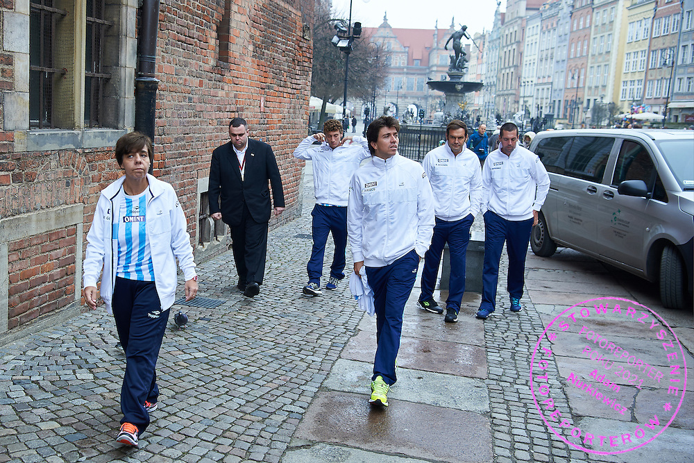 GDANSK, POLAND - 2016 MARCH 03: Argentina Team arrived to City Hall one day before the Davies Cup / World Group 1st round tennis match between Poland and Argentina at Ergo Arena on March 3, 2016 in Gdansk, Poland<br /> <br /> Picture also available in RAW (NEF) or TIFF format on special request.<br /> <br /> Any editorial, commercial or promotional use requires written permission.<br /> <br /> Mandatory credit:<br /> Photo by &copy; Adam Nurkiewicz / Mediasport