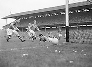 Ball rolls into goal during the All Ireland Senior Football Championship Final, Armagh v Kerry in Croke Park on the 27th September 1953, Kerry 0-13, Armagh 1-06.