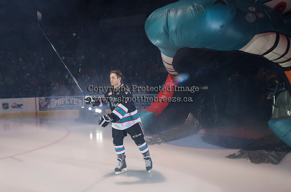 KELOWNA, CANADA - SEPTEMBER 25: Riley Stadel #3 of Kelowna Rockets enters the ice during the season home opener against the Kamloops Blazers on September 25, 2015 at Prospera Place in Kelowna, British Columbia, Canada.  (Photo by Marissa Baecker/Shoot the Breeze)  *** Local Caption *** Riley Stadel;