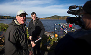 Mike Spracklen coaches a mixed of rowers from crews he coached from 1992 to 2012 at Elk Lake in Victoria, British Columbia Canada on October 30, 2016.