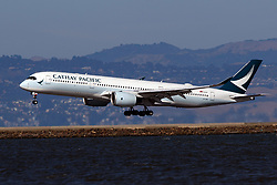 Airbus A350-941 (B-LRB) operated by Cathay Pacific landing at San Francisco International Airport (KSFO), San Francisco, California, United States of America