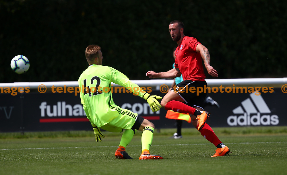 Crawley's Ollie Palmer scores the opening goal during the pre season friendly between Fulham and Crawley Town at Motspur Park Training Ground, London, UK. 07 July 2018.