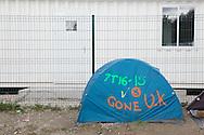Calais, Pas-de-Calais, France - 17.10.2016    <br />  <br /> &rdquo;Jungle&quot; refugee camp on the outskirts of the French city of Calais. Many thousands of migrants and refugees are waiting in some cases for years in the port city in the hope of being able to cross the English Channel to Britain. French authorities announced that they will shortly evict the camp where currently up to up to 10,000 people live.<br /> <br /> &rdquo;Jungle&rdquo; Fluechtlingscamp am Rande der franzoesischen Stadt Calais. Viele tausend Migranten und Fluechtlinge harren teilweise seit Jahren in der Hafenstadt aus in der Hoffnung den Aermelkanal nach Gro&szlig;britannien ueberqueren zu koennen. Die franzoesischen Behoerden kuendigten an, dass sie das Camp, indem derzeit bis zu bis zu 10.000 Menschen leben K&uuml;rze raeumen werden. <br /> <br /> Photo: Bjoern Kietzmann