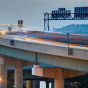 Light trails and motion blur from highway car traffic, Kansas City area.