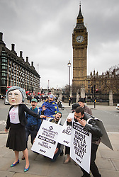 Parliament Square, London, March 29th 2017. On the day that British Prime Minister Theresa May triggers Article 50 to begin Britain's withdrawal from the European Union, a group of protesters, one as 'Theresa May' protest demanding that 'the people get a real say' on the final Brexit deal, accusing the government of avaoiding the complete democratic process. &copy;Paul Davey<br /> FOR LICENCING CONTACT: Paul Davey +44 (0) 7966 016 296 paul@pauldaveycreative.co.uk
