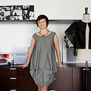 Warsaw, Poland, June 2013. Asia Wysoczyńska, emergent fashion designer in her home studio in Warsaw.