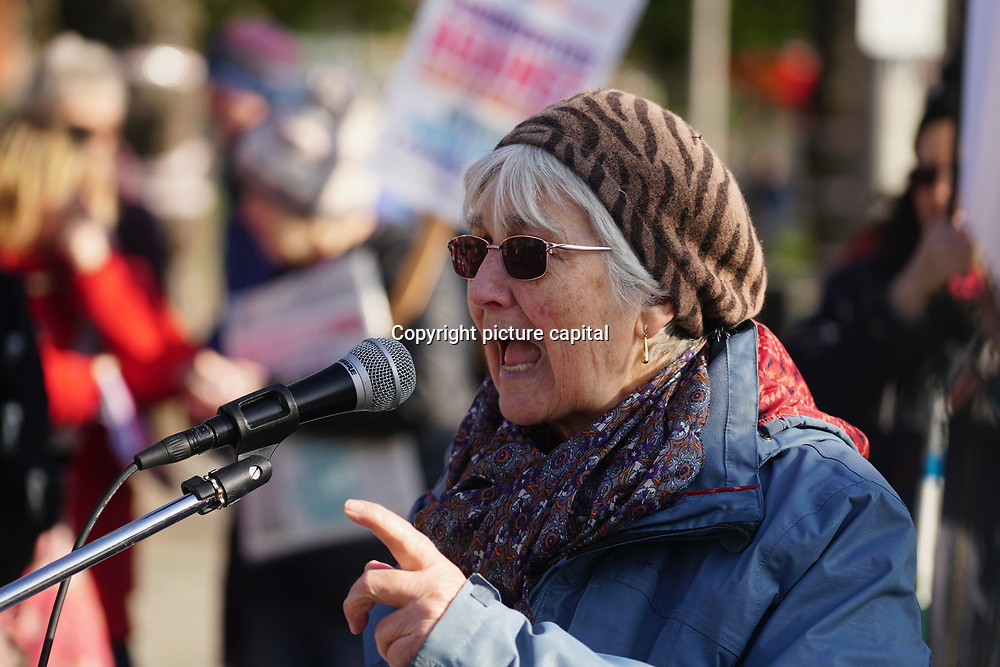 Speakers Linda Tuff at Occupy E17 Market Square demand for affordable homes + no land grab against greedy housing development to build a tower block it cost three time of  minimum wages to lives there. Protestors demand affordable housing and rent control of greedy landlord on 24 Feb 2018 in Walthamstow square, London, UK.