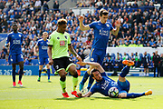 AFC Bournemouth midfielder Jordon Ibe battles for possession with Leicester City defender Christian Fuchs and Leicester City defender Ben Chilwell during the Premier League match between Leicester City and Bournemouth at the King Power Stadium, Leicester, England on 21 May 2017. Photo by Richard Holmes.