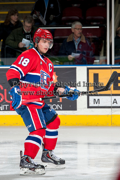 KELOWNA, CANADA - MARCH 5: Reid Gow #18 of the Spokane Chiefs skates against the Kelowna Rockets on March 5, 2014 at Prospera Place in Kelowna, British Columbia, Canada.   (Photo by Marissa Baecker/Getty Images)  *** Local Caption *** Reid Gow;