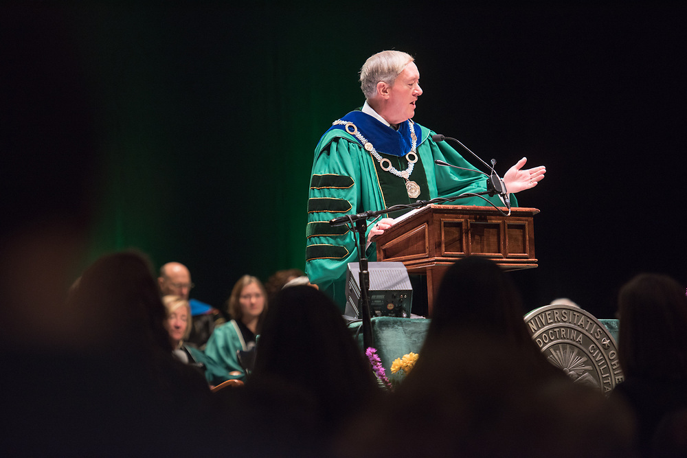 Dr. M. Duane Nellis speaks during the investiture ceremony.