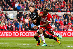 Britt Assombalonga of Middlesbrough battles with John Terry of Aston Villa - Mandatory by-line: Robbie Stephenson/JMP - 12/05/2018 - FOOTBALL - Riverside Stadium - Middlesbrough, England - Middlesbrough v Aston Villa - Sky Bet Championship