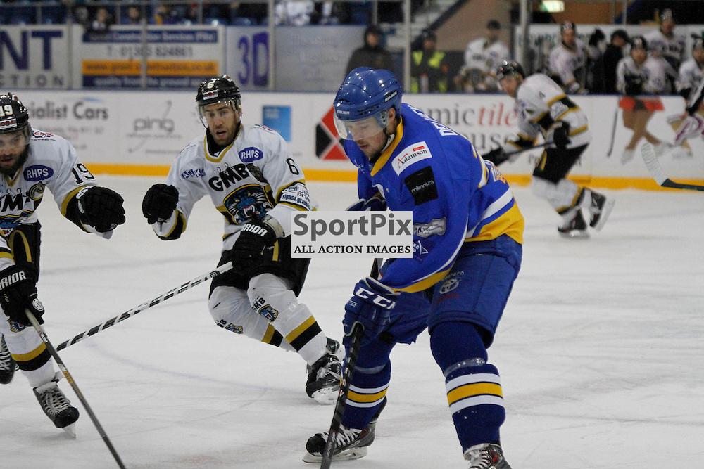 Fife Flyers V Nottingham Panthers, Elite Ice Hockey League, 13 December 2015Fife Flyers V Nottingham Panthers, Elite Ice Hockey League, 13 December 2015<br /> <br /> FIFE FLYERS #24 MATT DELAHEY STOPPING NOTTINGHAM PANTHERS #6 JEFF DIMMEN GET THE PUCK