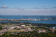 Aerial photograph of beautiful Madison, Wisconsin on a summer morning.