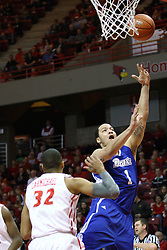 12 January 2013: Jordan Clarke gets off a lay up during an NCAA Missouri Valley Conference mens basketball game Where the Bulldogs of Drake University beat the Illinois State Redbirds 82-77 in Redbird Arena, Normal IL