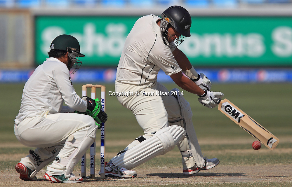 Pakistan vs New Zealand, 21 November 2014 <br /> Ross Taylor plays a shot on the fifth day of second test in Dubai