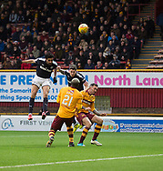 23rd December 2017, Fir Park, Motherwell, Dundee; Scottish Premier League football, Motherwell versus Dundee; Dundee's Sofien Moussa hit the bar with this header