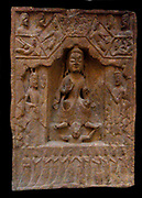 representation on a buddhist stele of the descent to earth of the Buddha Mayitreya. Chinese 386-534 AD