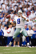 IRVING, TX - JANUARY 13:   Tony Romo #9 of the Dallas Cowboys throws a pass against the New York Giants during the NFC Divisional playoff at Texas Stadium on January 13, 2008 in Dallas, Texas.  The Giants defeated the Cowboys 21-17.  (Photo by Wesley Hitt/Getty Images) *** Local Caption *** Tony Romo