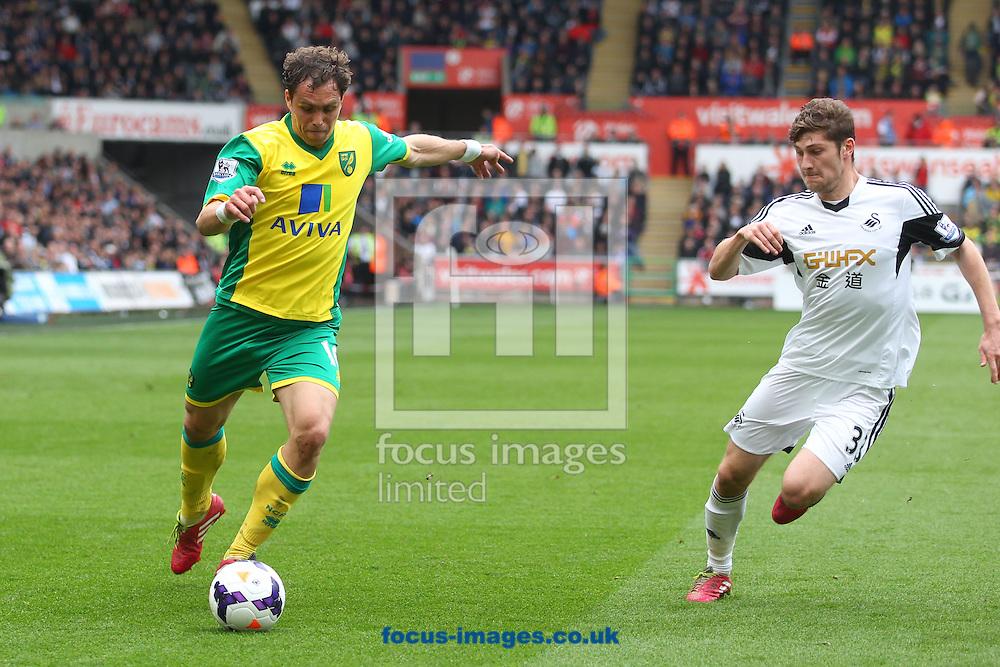 Johan Elmander of Norwich and Ben Davies of Swansea in action during the Barclays Premier League match at the Liberty Stadium, Swansea<br /> Picture by Paul Chesterton/Focus Images Ltd +44 7904 640267<br /> 29/03/2014