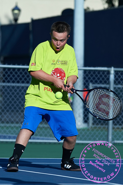 SO athlete in action while Unified Tennis Experience during sixth day of the Special Olympics World Games Los Angeles 2015 on July 30, 2015 at Tennis Centre on UCLA (University of California Los Angeles) in Los Angeles, USA.<br /> <br /> USA, Los Angeles, July 30, 2015<br /> <br /> Picture also available in RAW (NEF) or TIFF format on special request.<br /> <br /> For editorial use only. Any commercial or promotional use requires permission.<br /> <br /> Adam Nurkiewicz declares that he has no rights to the image of people at the photographs of his authorship.<br /> <br /> Mandatory credit:<br /> Photo by &copy; Adam Nurkiewicz / Mediasport