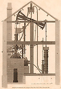 John Smeaton's  (1724-1924) English civil engineer, adaptation of Thomas Newcomen's (1663-1729) steam engine.  From 'The Cyclopaedia: or, Universal Dictionary of Arts, Science and Literature' edited by Abraham Rees (London, 1820).  Engraving.
