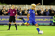 AFC Wimbledon striker Lyle Taylor (33) penalty during the EFL Sky Bet League 1 match between AFC Wimbledon and Milton Keynes Dons at the Cherry Red Records Stadium, Kingston, England on 22 September 2017. Photo by Matthew Redman.