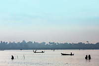 fishermen fishing on the Taungthaman Lake Amarapura  Mandalay state Myanmar (Burma)