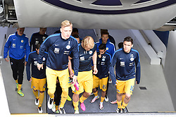 24.04.2016, Allianz Arena, Muenchen, GER, 2. FBL, TSV 1860 Muenchen vs Eintracht Braunschweig, 31. Runde, im Bild Saulo Decarli (Eintracht Braunschweig), Jan Hochscheidt (Eintracht Braunschweig), Salim Khelifi (Eintracht Braunschweig), Mirko Boland (Eintracht Braunschweig), v.li. // during the 2nd German Bundesliga 31th round match between TSV 1860 Muenchen vs Eintracht Braunschweig at the Allianz Arena in Muenchen, Germany on 2016/04/24. EXPA Pictures &copy; 2016, PhotoCredit: EXPA/ Eibner-Pressefoto/ Buthmann<br /> <br /> *****ATTENTION - OUT of GER*****