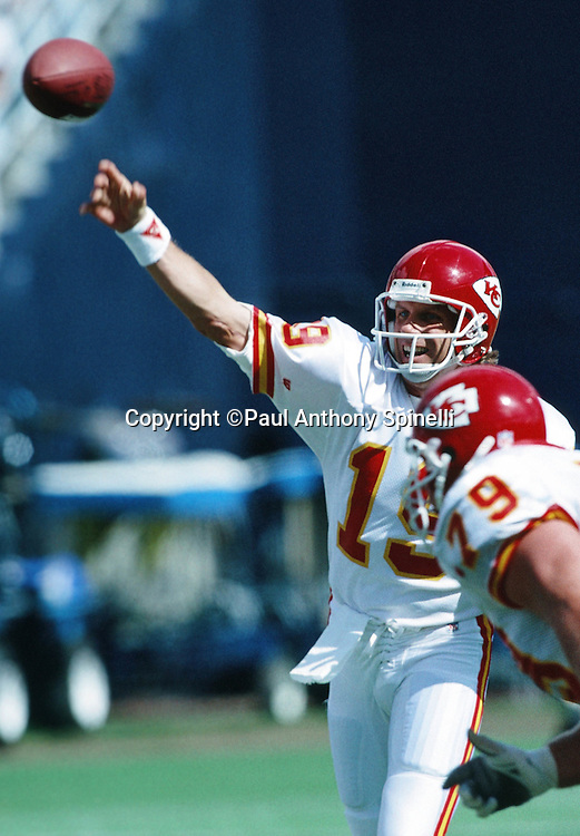 Kansas City Chiefs quarterback Joe Montana (16) throws a pass during the NFL football game against the San Diego Chargers on Oct. 17, 1993 in San Diego. The Chiefs won the game 17-14. (©Paul Anthony Spinelli)
