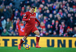 LIVERPOOL, ENGLAND - Saturday, February 24, 2018: Liverpool's Roberto Firmino scores the third goal during the FA Premier League match between Liverpool FC and West Ham United FC at Anfield. (Pic by David Rawcliffe/Propaganda)