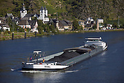 Coal barge going up river, Karden, Mosel Valley, Rhineland Palatinate, Germany