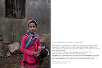 Turkey, Cesme, Ciftlikk&ouml;y<br /> Girl from Afghanistan, Leyla*  age 12, January 2016<br /> <br /> Leyla got some fresh clothes from IMECE, an independent volunteer group operating in Cesme and Izmir to cover urgent needs for the refugees. She stays in front of an abandoned house, near Ciftlikk&ouml;y, where she waits with her family for the passage.<br /> More than fourty-five thousand of refugees got from here to Chios. <br /> There is no water, no toilets, no beds, just empty houses.<br /> Refugees from Afghanistan, Iran, Syria and other countries were waiting here with their families for a calm sea, to cross then with rubber boats, hoping to reach the Greek island Chios, which is just a few nautical miles away. <br /> <br /> The majority of the refugee comes from war torn countries such as Syria and Afghanistan.<br /> They get emergency treatment and supplies from local citizens in Cesme.<br /> <br /> The refugees stay depending on the weather and sea from one  up to one several days at these kind of places around Cesme. <br /> Most of the refugees are traveling already for several weeks or months until they reach the turkish coast.<br /> <br /> *name changed for security reasons<br /> <br /> keine Veroeffentlichung unter 50 Euro*** Bitte auf moegliche weitere Vermerke achten***Maximale Online-Nutzungsdauer: 12 Monate !!