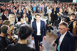 "01.07.2017, Design Center, Linz, AUT, ÖVP, 38. ordentlicher Bundesparteitag, mit Wahl von Bundesminister Kurz zum neuen Bundesparteiobmann, unter dem Motto ""Zeit für Neues - Zusammen neue Wege gehen"". im Bild mit 98,7 % der neugewählte Parteiobmann Sebastian Kurz // Austrian Foreign Minister Sebastian Kurz during political convention of the Austrian People' s Party with election of Sebastian Kurz as the new party leader at Design Centre in Linz, Austria on 2017/07/01. EXPA Pictures © 2017, PhotoCredit: EXPA/ Michael Gruber"
