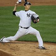 Hiroki Kuroda, New York Yankees, pitching during the New York Yankees V New York Mets, Subway Series game at Yankee Stadium, The Bronx, New York. 12th May 2014. Photo Tim Clayton